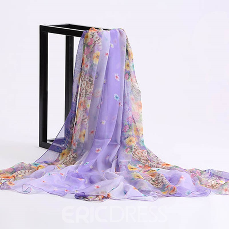 Ericdress All Match Long Floral Chiffon Beach Scarf