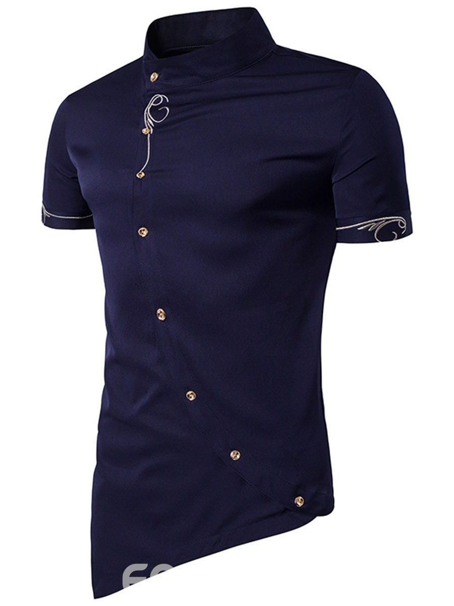 Ericdress Iregular Solid Color Short Sleeve Stand Collar Men's Shirt