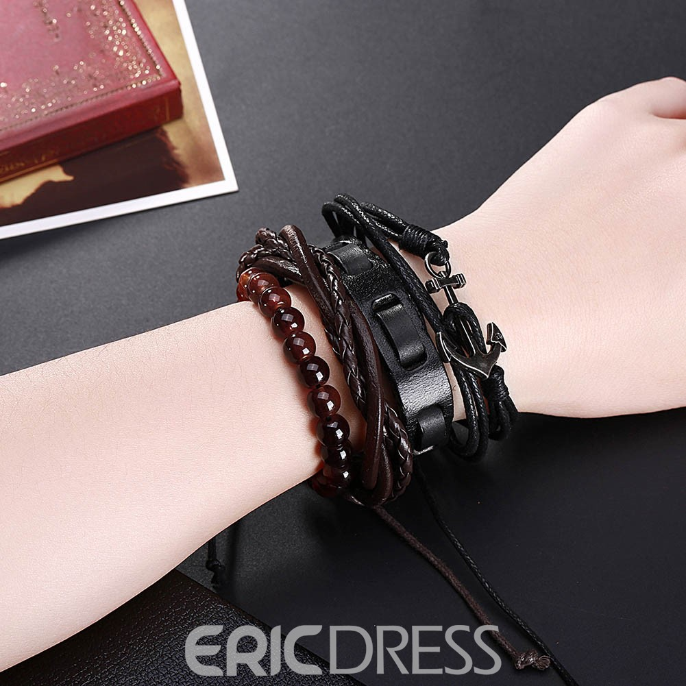Ericdress Punk Style Multilayer Leather Bracelet