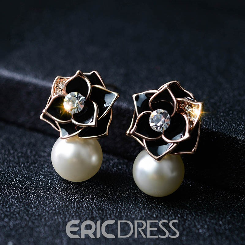 Ericdress All Match Rose Pearl Earring for Women