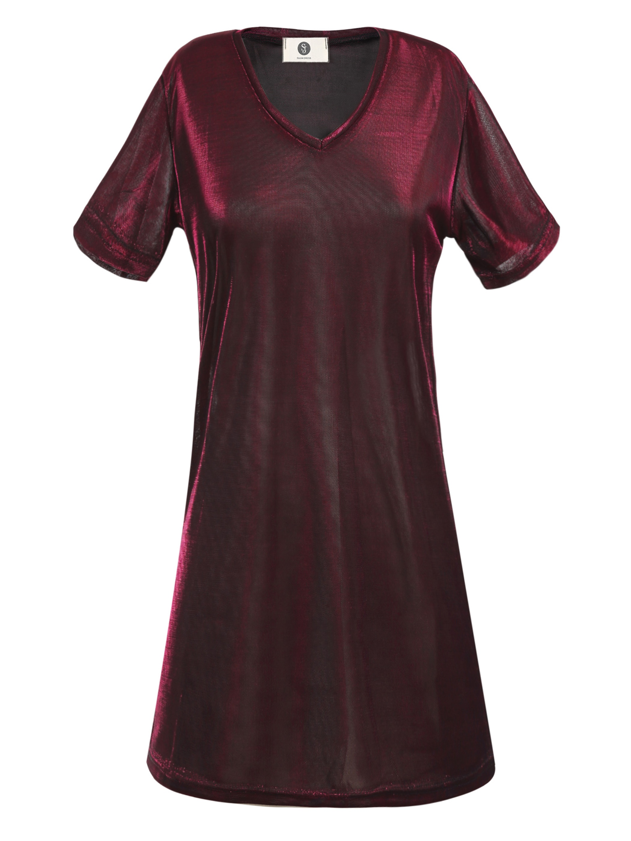 Ericdress Straight V-Neck Mid-Length Plain T-shirt
