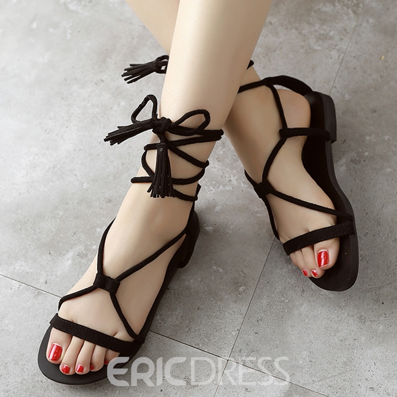 Ericdress Suede Cross Straps Tassels Decorated Flat Sandals