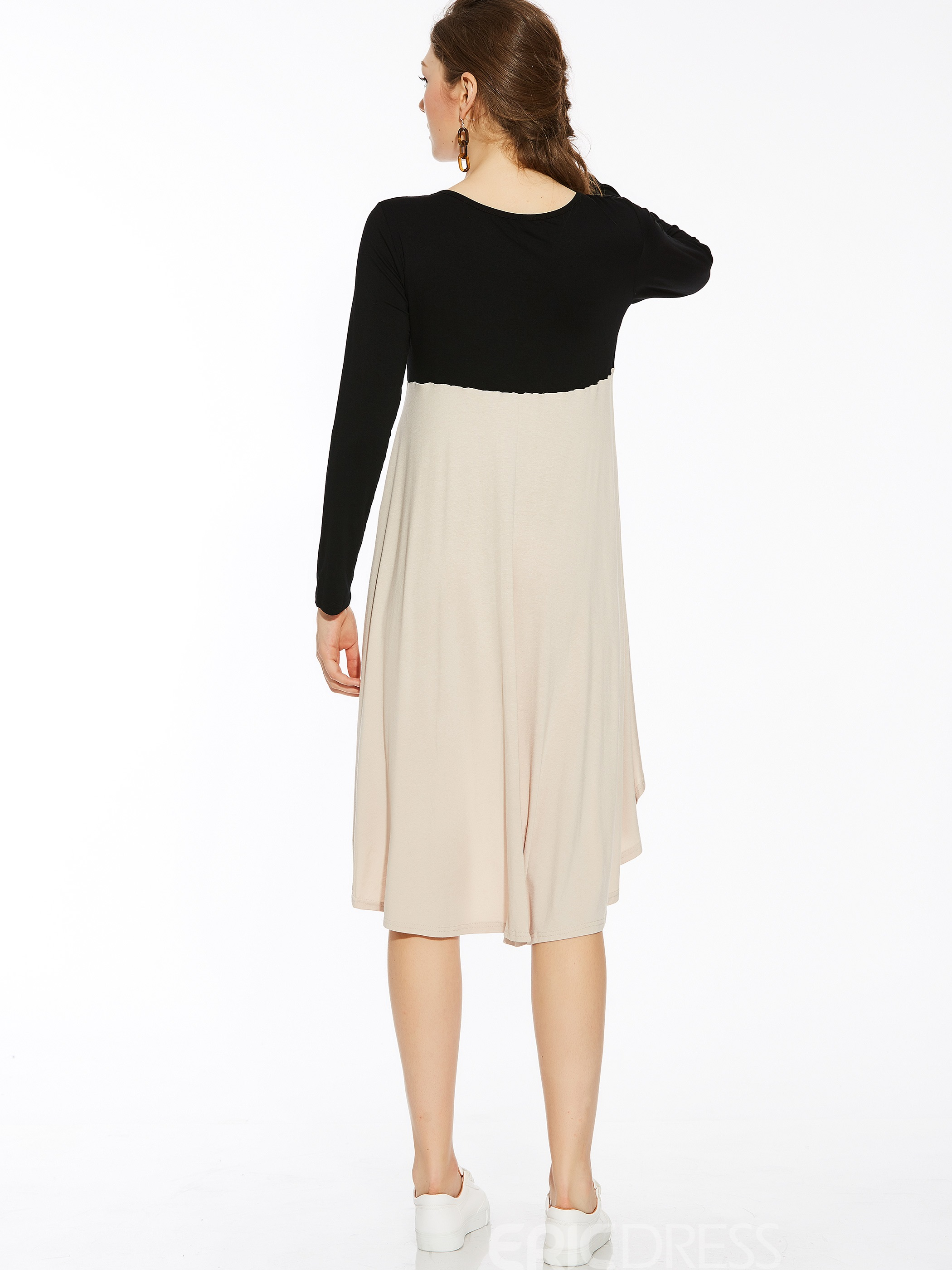 Ericdress Color Block Round Collar Pleated Casual Dress