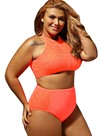Ericdress Mesh Patchwork Hollow Lace Plus Size Swimwear