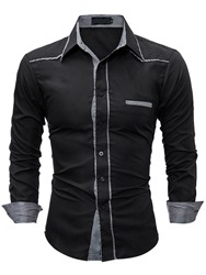 Ericdress Plaid Patched Casual Slim Mens Shirt фото