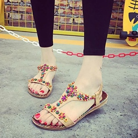 Ericdress Bohemian Beads&flower Flat Sandals