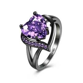 Ericdress Graceful Amethyst Ultra Violet Heart Ring
