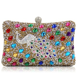 Ericdress Noble Colorful Rhinestone Peacock Evening Clutch
