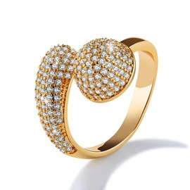 Ericdress voll-jeweled 18k gold mode ring