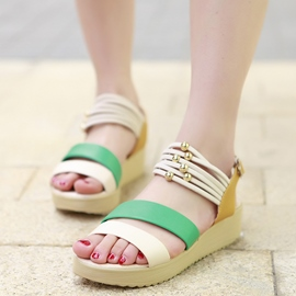 Ericdress Sweet Color Block Beads Decorated Flat Sandals