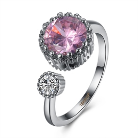 Ericdress Round Cut Pink Sapphire Ultra Violet Adjustable Sweet Ring