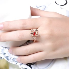 Ericdress Ruby Inlay Flower Ring for Women