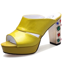 Ericdress Bright Rhinestone Peep Toe Chunky Heel Mules Shoes