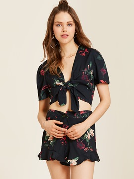 Ericdress Flower Print Falbala Patchwork Women's Shorts Suit