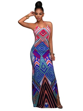 Ericdress Backless Geometric Print Maxi Dress