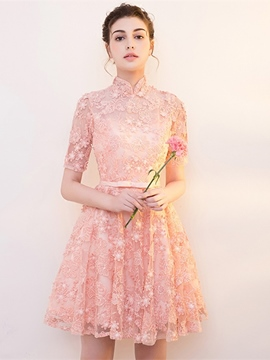 Ericdress Short Sleeve High Neck Lace Cocktail Dress