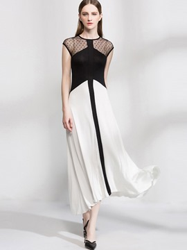Ericdress Patchwork Color Block High-Low Maxi Dress