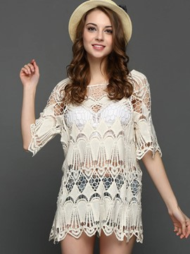Ericdress Crochet Hollow Half Sleeve Blouse
