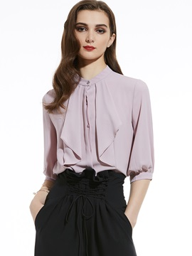 Ericdress Round Neck Lantern Sleeve Plain Blouse
