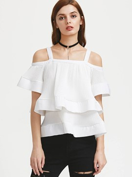 Ericdress Double Layer Cold Shoulder T-Shirt