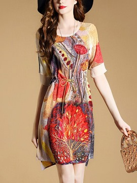Ericdress Chiffon Print Drawstring Casual Dress