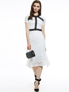 Ericdress Mid-Calf Round Neck Hollow Lace Dress