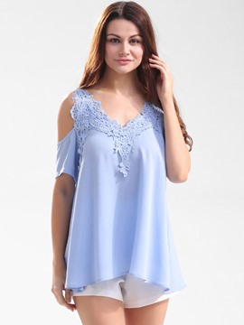 Ericdress Lace Patchwork Cold Shoulder Chiffon Blouse