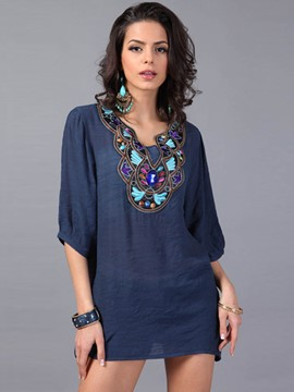 Ericdress Bead Embroidery Comfy Blouse