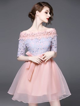 Ericdress Sweet Candy Color Patchwork Ball Gown A Line Dress