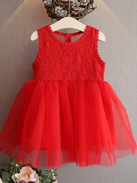 Ericdress Fashion Mesh Lace Sleeveless Bow Princess Girls Dress