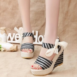 Ericdress Strips Print Wedge Sandals