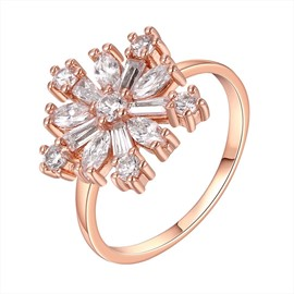 Ericdress Flower White Sapphire Rose Gold Wedding Ring