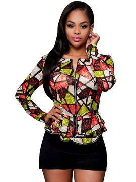 Ericdress Printed Peplum Slim Jacket