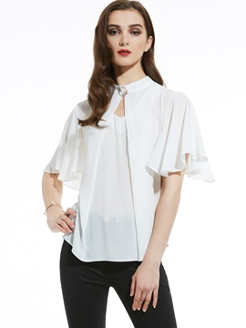 Ericdress Stand Collar Plain Chiffon Women's Blouse