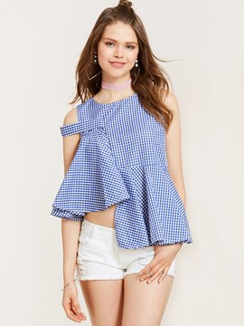 Ericdress Plaid Falbala Patchwork Asymmetric Blouse