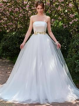 Ericdress Strapless Ball Gown Beaded Ball Gown Wedding Dress