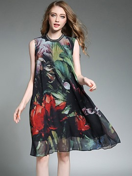 Ericdress Vintage Print Scoop Sleeveless Casual Dress