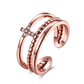 Ericdress Cross Diamante Rose Gold Adjustable Ring