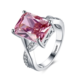 Ericdress Sweet Love Square Pink Sapphire Twisted Wedding Ring