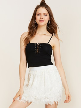 Ericdress Spaghetti Straps Lace-Up Tank Top