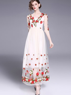 Ericdress Flower Embroidery Mesh Backless Expansion Maxi Dress