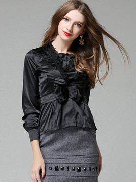 Ericdress Bow Tie Ruffled Solid Color Blouse