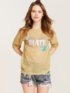 Ericdress Round Neck Letter Sequins Patchwork T-shirt