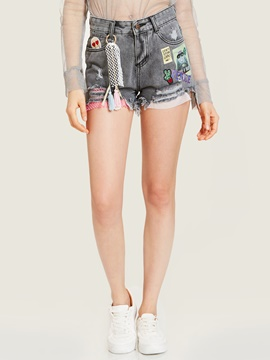 Slim Letter Print Hole Denim Women's Shorts