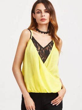 Ericdress Lace Crochet Wrap Front Tank Top