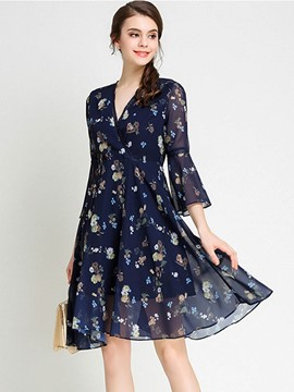 Ericdress Chiffon Print Flare Sleeve Casual Dress
