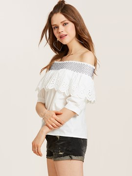 Ericdress Slim Slash Neck Lantern Sleeve Blouse