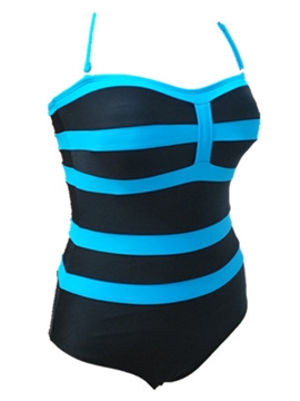 Ericdress Halter Stripe One Peice Plus Size Swimwear