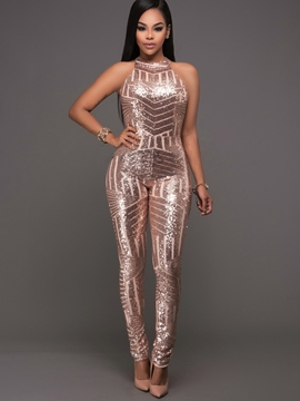 Ericdress Backless Sequins Plain Jumpsuits Pants