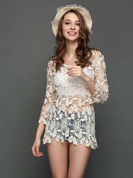 Ericdress Floral Crochet Hollow Beachwear Blouse